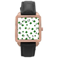 St  Patrick s Clover Pattern Rose Gold Leather Watch  by Valentinaart