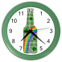 St  Patricks Day   Bottle Color Wall Clocks by Valentinaart