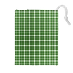 St  Patricks Day Plaid Pattern Drawstring Pouches (extra Large) by Valentinaart
