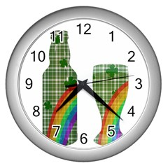 St  Patrick s Day Wall Clocks (silver)  by Valentinaart