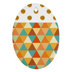 Golden Dots And Triangles Pattern Oval Ornament (two Sides) by TastefulDesigns