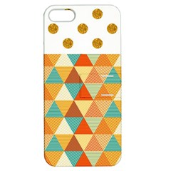 Golden Dots And Triangles Pattern Apple Iphone 5 Hardshell Case With Stand by TastefulDesigns