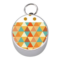 Golden Dots And Triangles Pattern Mini Silver Compasses by TastefulDesigns
