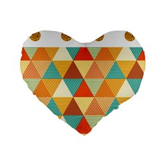 Golden Dots And Triangles Pattern Standard 16  Premium Flano Heart Shape Cushions by TastefulDesigns