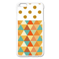 Golden Dots And Triangles Pattern Apple Iphone 6 Plus/6s Plus Enamel White Case by TastefulDesigns