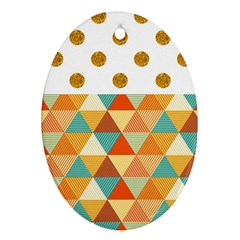 Golden Dots And Triangles Patern Ornament (oval) by TastefulDesigns