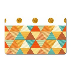 Golden Dots And Triangles Patern Magnet (rectangular) by TastefulDesigns