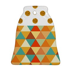 Golden Dots And Triangles Patern Bell Ornament (two Sides) by TastefulDesigns