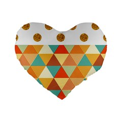 Golden Dots And Triangles Patern Standard 16  Premium Flano Heart Shape Cushions by TastefulDesigns