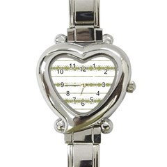Ethnic Floral Stripes Heart Italian Charm Watch by dflcprints
