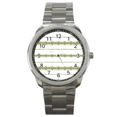 Ethnic Floral Stripes Sport Metal Watch by dflcprints