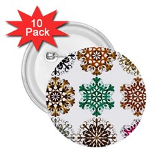 A Set Of 9 Nine Snowflakes On White 2 25  Buttons (10 Pack)  by Amaryn4rt