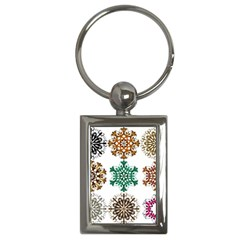 A Set Of 9 Nine Snowflakes On White Key Chains (rectangle)  by Amaryn4rt