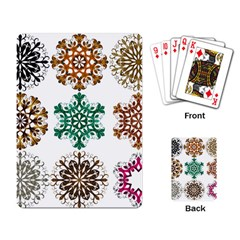 A Set Of 9 Nine Snowflakes On White Playing Card by Amaryn4rt