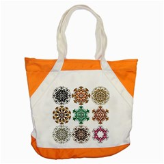 A Set Of 9 Nine Snowflakes On White Accent Tote Bag by Amaryn4rt