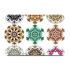 A Set Of 9 Nine Snowflakes On White Plate Mats by Amaryn4rt