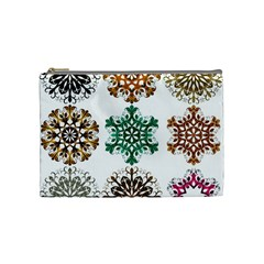 A Set Of 9 Nine Snowflakes On White Cosmetic Bag (medium)  by Amaryn4rt