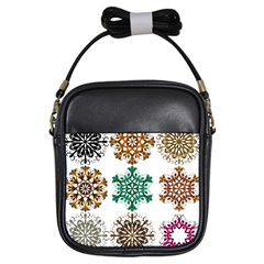 A Set Of 9 Nine Snowflakes On White Girls Sling Bags by Amaryn4rt