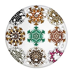 A Set Of 9 Nine Snowflakes On White Round Filigree Ornament (two Sides) by Amaryn4rt
