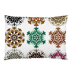 A Set Of 9 Nine Snowflakes On White Pillow Case (two Sides) by Amaryn4rt