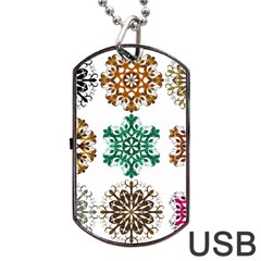 A Set Of 9 Nine Snowflakes On White Dog Tag Usb Flash (two Sides) by Amaryn4rt