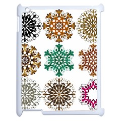 A Set Of 9 Nine Snowflakes On White Apple Ipad 2 Case (white) by Amaryn4rt