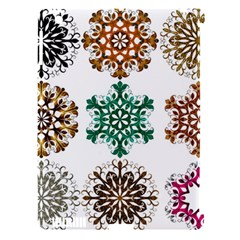 A Set Of 9 Nine Snowflakes On White Apple Ipad 3/4 Hardshell Case (compatible With Smart Cover) by Amaryn4rt