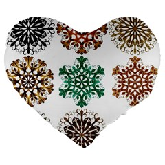 A Set Of 9 Nine Snowflakes On White Large 19  Premium Heart Shape Cushions by Amaryn4rt