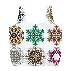 A Set Of 9 Nine Snowflakes On White Full Print Recycle Bags (l)  by Amaryn4rt