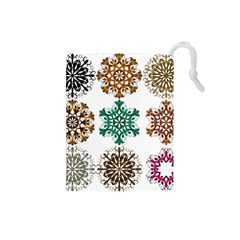 A Set Of 9 Nine Snowflakes On White Drawstring Pouches (small)  by Amaryn4rt