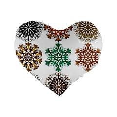 A Set Of 9 Nine Snowflakes On White Standard 16  Premium Flano Heart Shape Cushions by Amaryn4rt