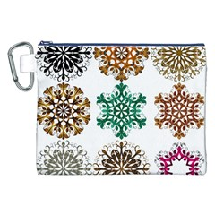 A Set Of 9 Nine Snowflakes On White Canvas Cosmetic Bag (xxl) by Amaryn4rt