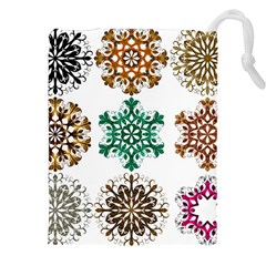 A Set Of 9 Nine Snowflakes On White Drawstring Pouches (xxl) by Amaryn4rt