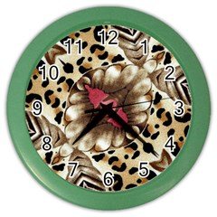 Animal Tissue And Flowers Color Wall Clocks by Amaryn4rt
