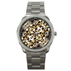 Background Fabric Animal Motifs And Flowers Sport Metal Watch by Amaryn4rt