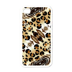 Background Fabric Animal Motifs And Flowers Apple Iphone 4 Case (white) by Amaryn4rt