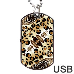 Background Fabric Animal Motifs And Flowers Dog Tag Usb Flash (two Sides) by Amaryn4rt