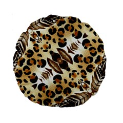 Background Fabric Animal Motifs And Flowers Standard 15  Premium Round Cushions by Amaryn4rt