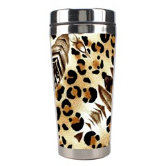 Background Fabric Animal Motifs And Flowers Stainless Steel Travel Tumblers by Amaryn4rt