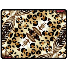 Background Fabric Animal Motifs And Flowers Double Sided Fleece Blanket (large)  by Amaryn4rt