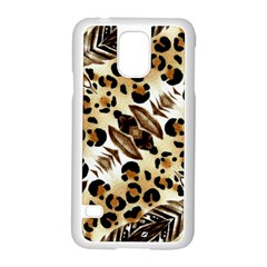 Background Fabric Animal Motifs And Flowers Samsung Galaxy S5 Case (white) by Amaryn4rt
