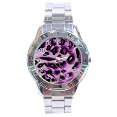 Background Fabric Animal Motifs Lilac Stainless Steel Analogue Watch by Amaryn4rt