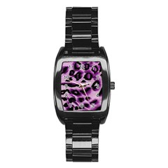 Background Fabric Animal Motifs Lilac Stainless Steel Barrel Watch by Amaryn4rt