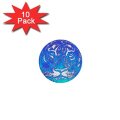 Background Fabric With Tiger Head Pattern 1  Mini Buttons (10 Pack)  by Amaryn4rt
