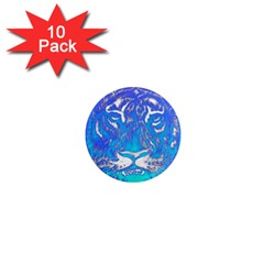 Background Fabric With Tiger Head Pattern 1  Mini Magnet (10 Pack)  by Amaryn4rt