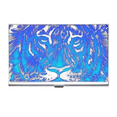 Background Fabric With Tiger Head Pattern Business Card Holders by Amaryn4rt