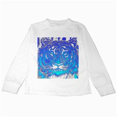Background Fabric With Tiger Head Pattern Kids Long Sleeve T Shirts by Amaryn4rt