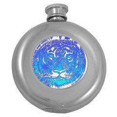 Background Fabric With Tiger Head Pattern Round Hip Flask (5 Oz) by Amaryn4rt