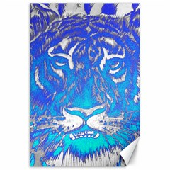 Background Fabric With Tiger Head Pattern Canvas 24  X 36  by Amaryn4rt