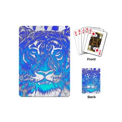 Background Fabric With Tiger Head Pattern Playing Cards (mini)  by Amaryn4rt